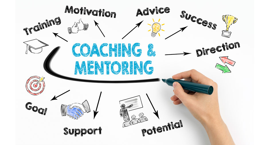 Writing on whiteboard with coaching and mentoring key words