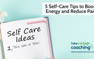 "shows title of the blog and a journal with ""Self Care Ideas"" on the page."